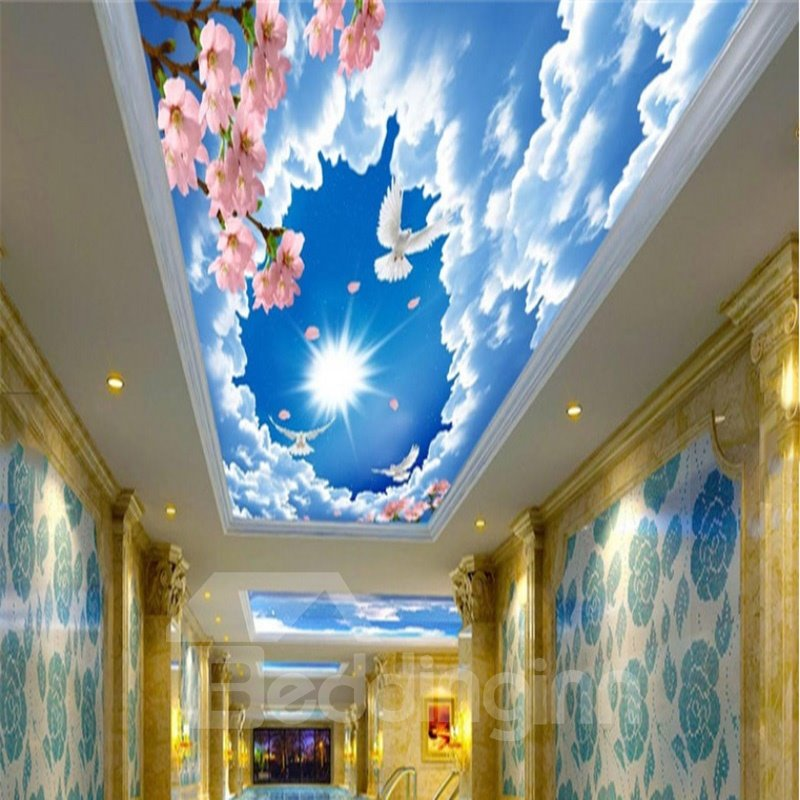 3D Clouds Pink Flowers Pattern Waterproof Durable and Eco-friendly Ceiling Murals