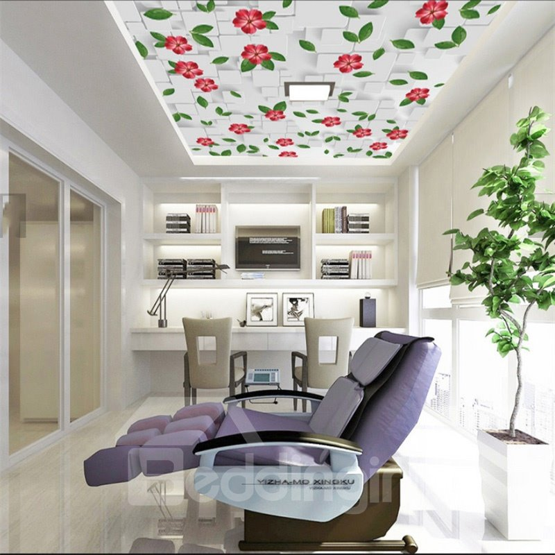 3D White Background with Red Flowers Waterproof Durable Eco-friendly Ceiling Murals