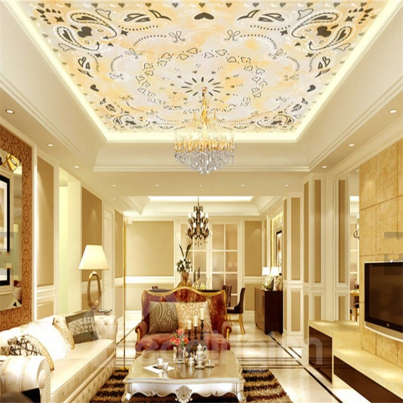 3D Heart Shapes Floral Pattern Waterproof Durable and Eco-friendly Ceiling Murals