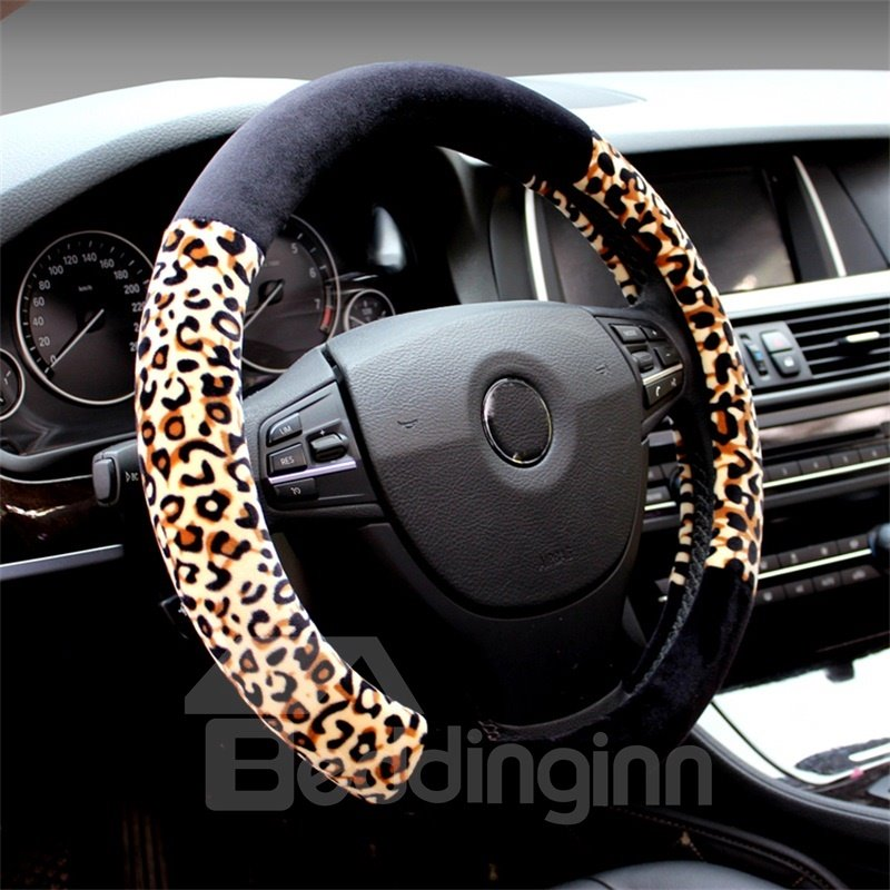 Pantherine Pattern Suede Material Soft Car Steering Wheel Cover