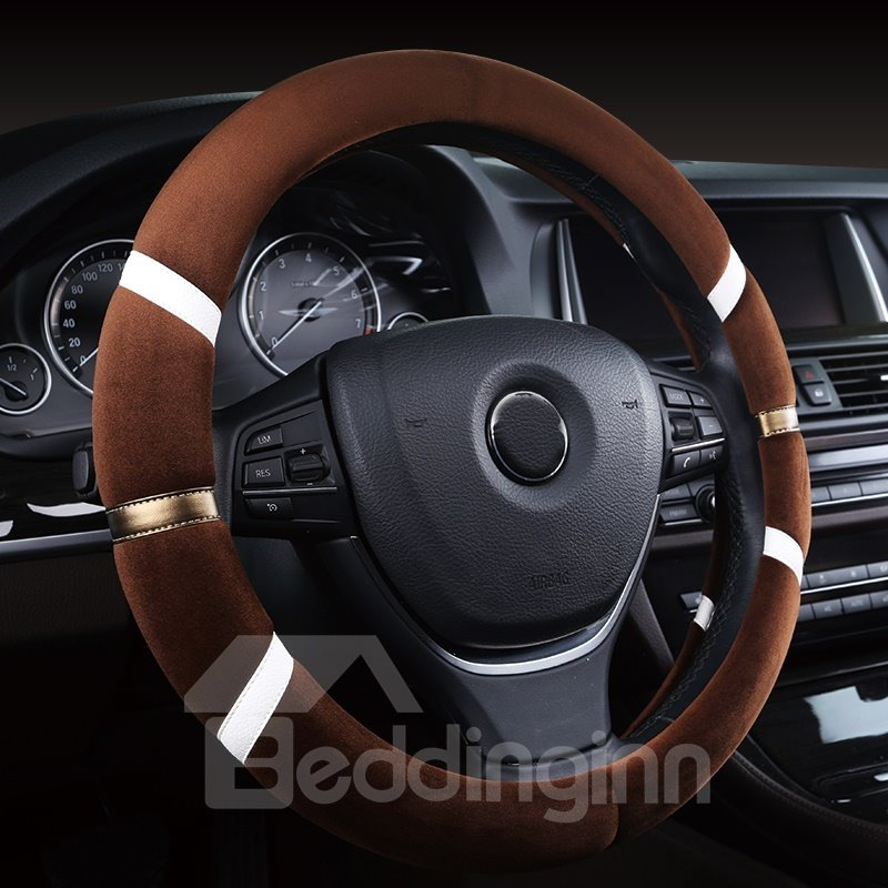 Bright 3M Line Patterned Lovely Suede Steering Wheel Cover