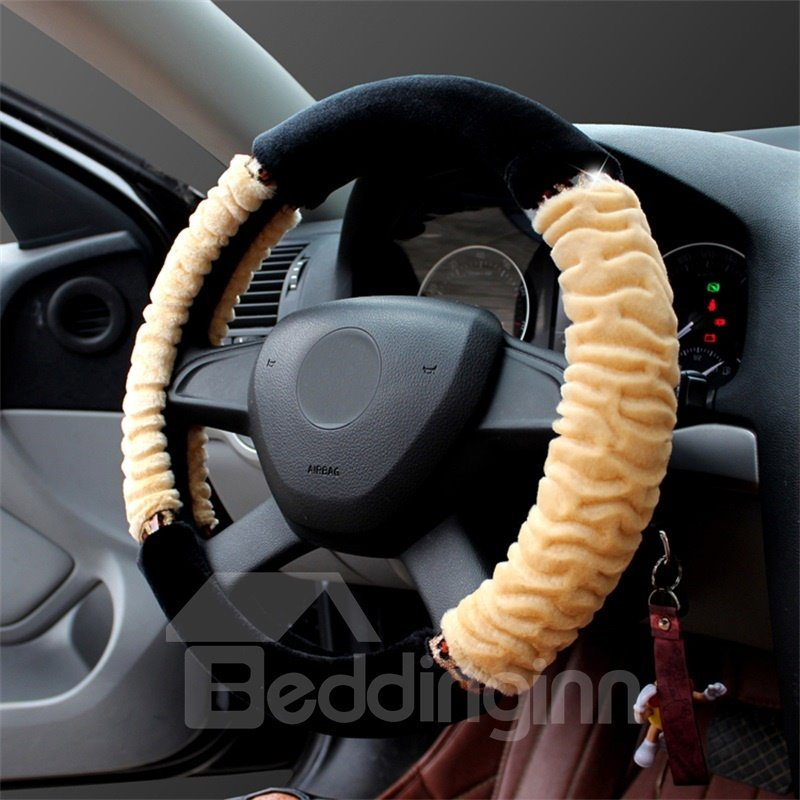 Warm Super Soft Plush Concise Designed Steering Wheel Cover