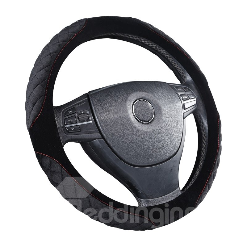 Cost-efficient Suede With Bright Package On Four Corners Steering Wheel Cover