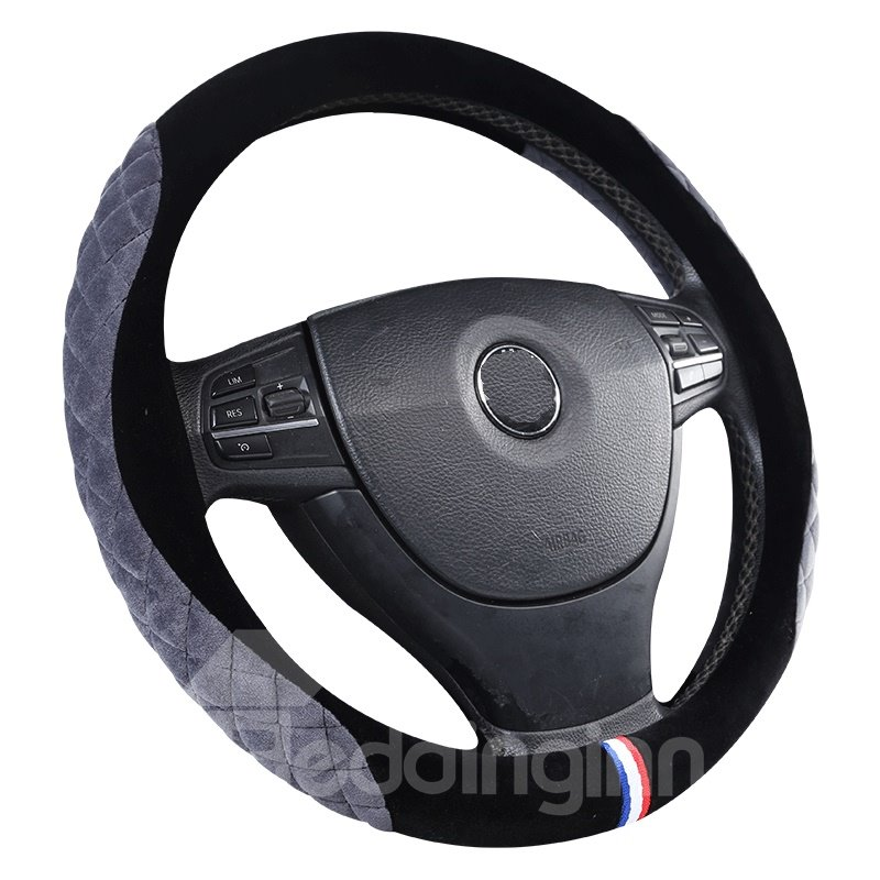 Suede With Bright Package On Both Sides Steering Wheel Cover
