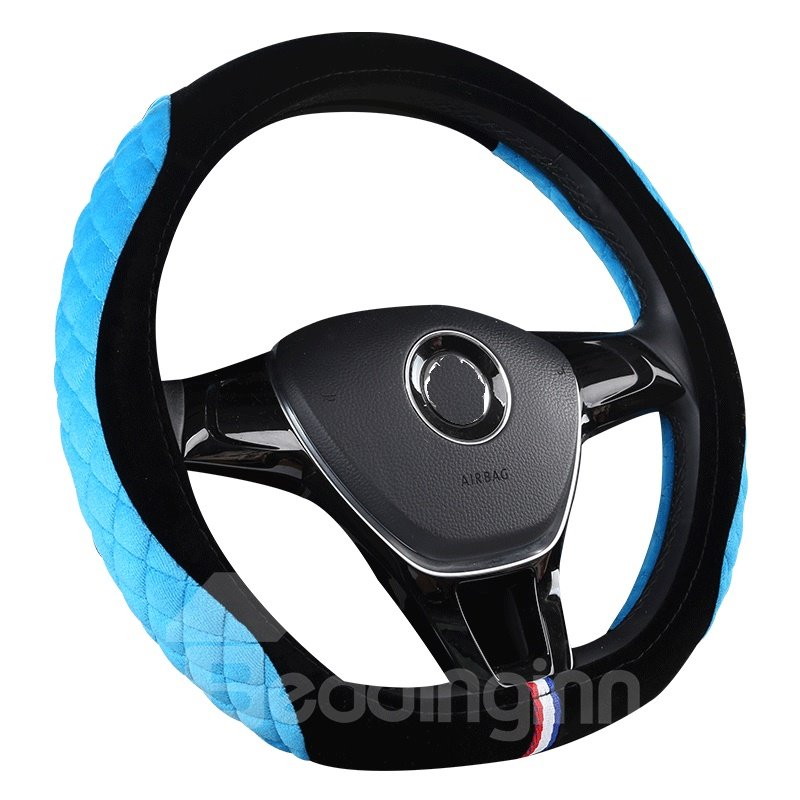 Suede Stereo Clipping Suede Material Sports Style Steering Wheel Cover beddinginn