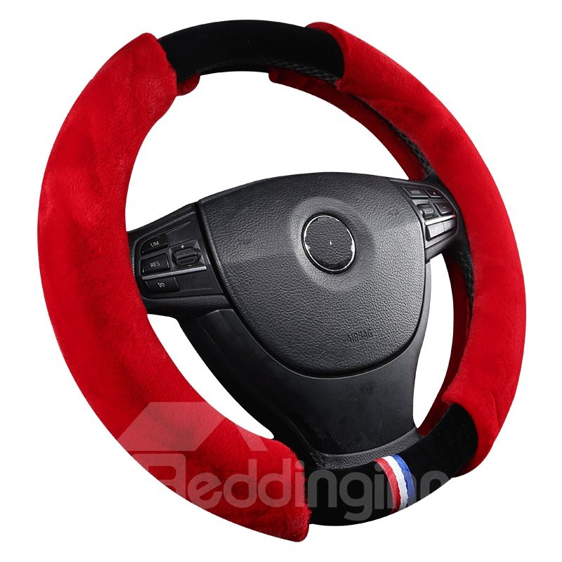 Holding Warm Suede With Fur Wrap On Both Sides Steering Wheel Cover