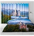 3D Modern Castles in Green Forest Printed Modern and Pastoral Style Living Room Curtain
