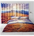 3D Yellow Grassland and Rolling Mountains with Soft Sunlight Printed 2 Panels Decorative Curtain