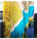 3D Rolling Mountains and Limpid River Printed Room Darken Thermal Insulated Room Curtain