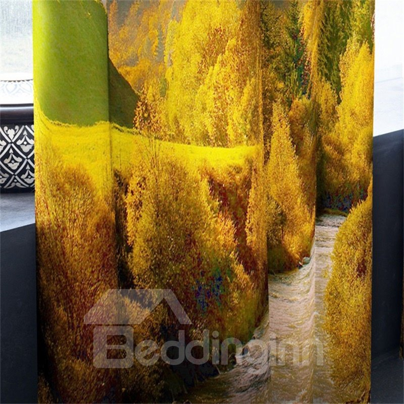 3D High Mountains Covered with Yellow Leaves and Flowing River Printed 2 Panels Curtain