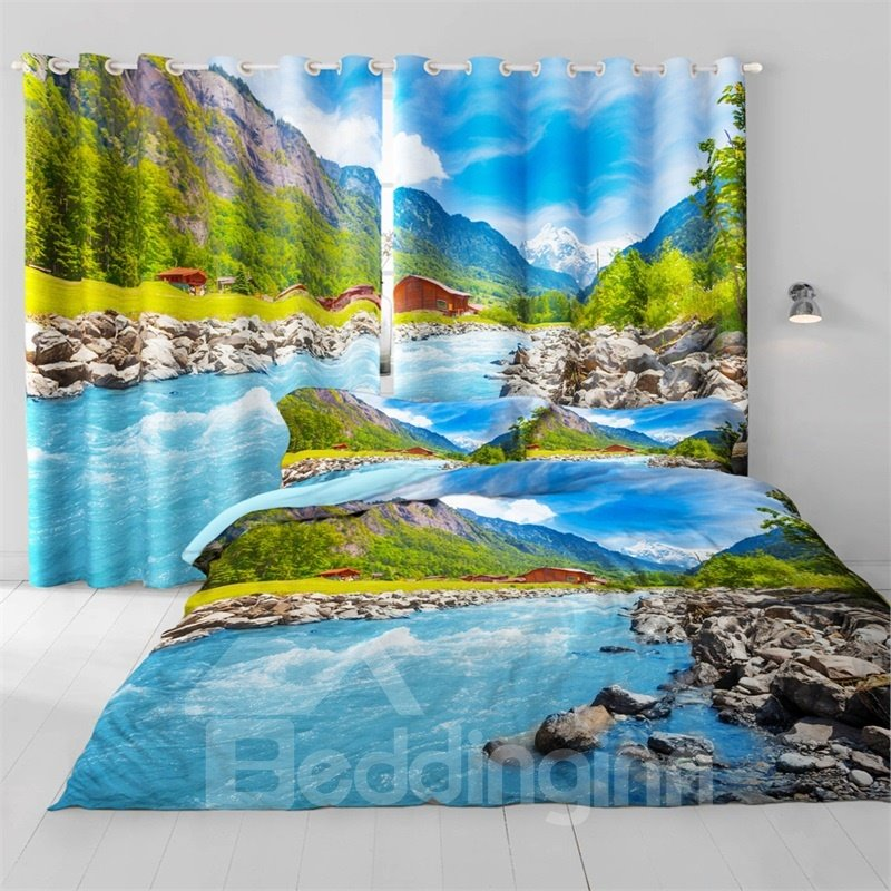 3D High Mountains and Limpid Water Printed Room Darken Thermal Insulated 2 Panels Curtain