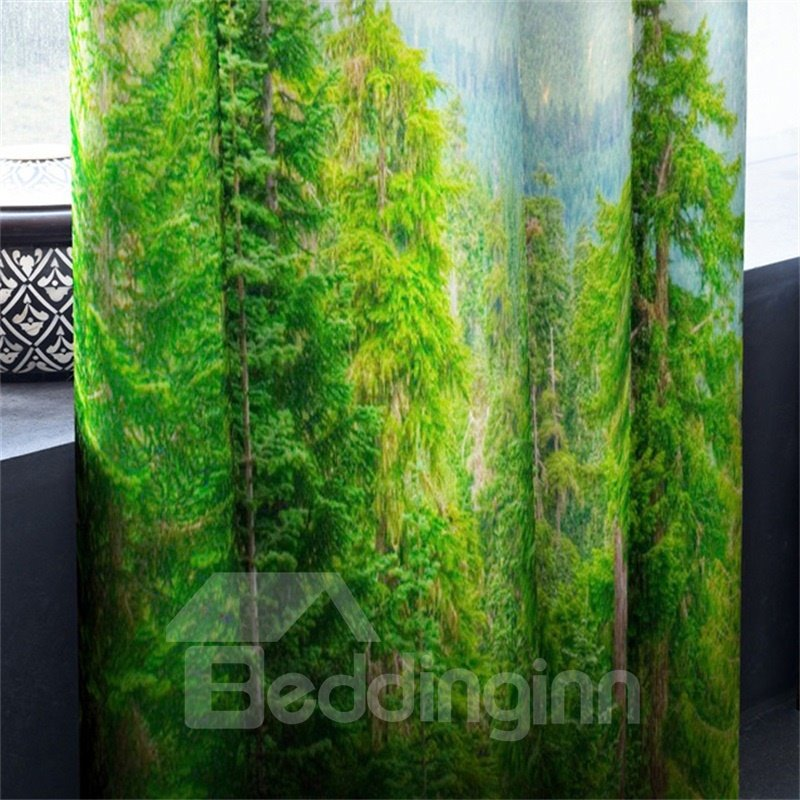 3D Green Plants and Ice Mountain Printed 2 Panels Living Room and Bedroom Curtain
