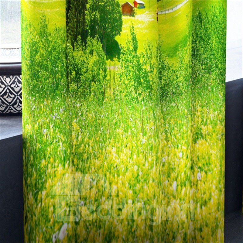 3D Fields of Verdant Grassland and Ice Mountains Printed 2 Panels Grommet Top Curtain