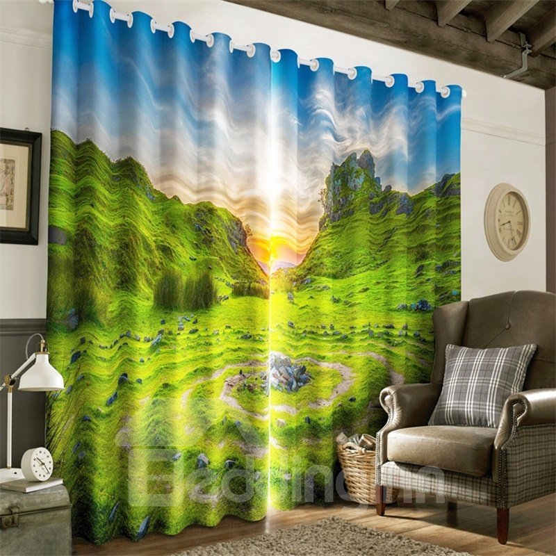 3D Verdant Green Valley and Rising Sun Printed 2 Panels Living Room and Bedroom Curtain