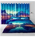 3D Limpid Lake and Villages in Valley Printed Natural and Pastoral Style Living Room Curtain