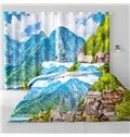 3D Small Villages and Limpid Lake and High Mountains Printed Room Darkening Thermal Insulated Curtain