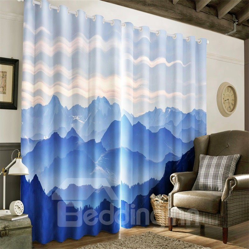 3D Rolling Mountains Printed 2 Panels Living Room and Bedroom Window Drapes