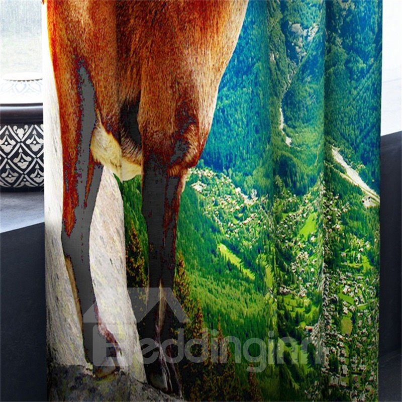 3D Brown Elk and Rolling Green Mountains Printed 2 Panels Living Room and Bedroom Curtain