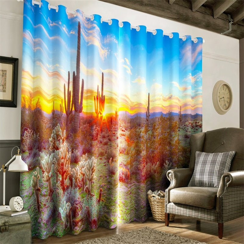 3D Fields of Cactus and Bright Sunlight Printed 2 Panels Living Room and Bedroom Curtain