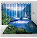 3D Thick Green Mountains and Flowing River Printed 2 Panels Living Room Window Curtain