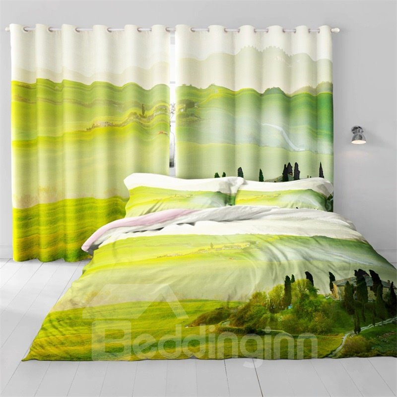 3D Rolling Mountains and Verdant Grass Printed Decorative and Heat Insulation Drapes