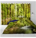 3D Flowing Waterfalls and Verdant Leaves Printed Living Room and Bedroom Drapes