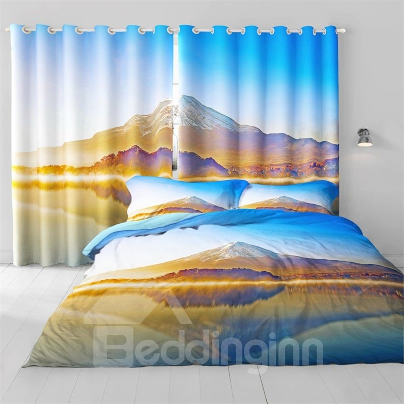 3D Ice Mountains and Peaceful Lake Printed 2 Panels Living Room and Bedroom Curtain