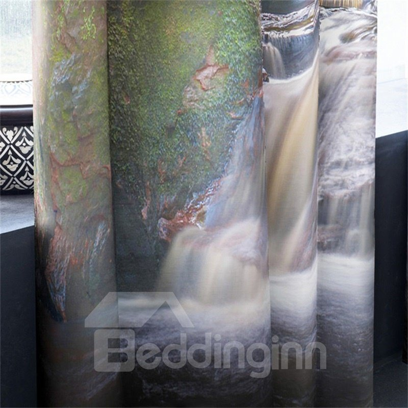 3D Steep Canyon and Violent Waterfalls Printed 2 Panels Decorative and Blackout Curtain