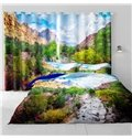 3D Red Rocks Mountains and Yellow Trees Printed Blackout and Decorative Living Room Curtain