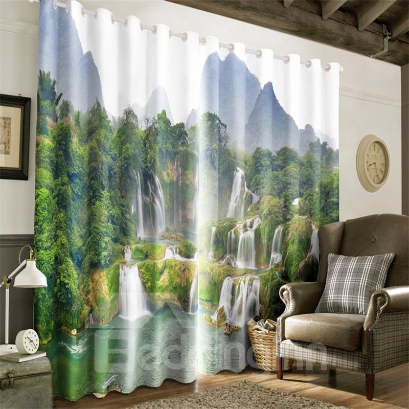 3D Green Mountains and Flowing Waterfalls Printed 2 Panels Grommet Top Curtain