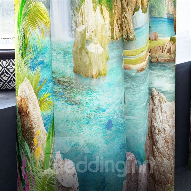 3D Elephant Mountains with Blue Water Printed Dust-Proof and Decorative Grommet Top Curtain