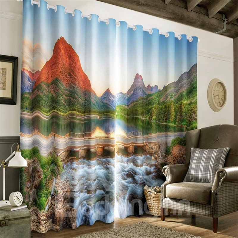 3D Red Top Mountain and Peaceful Lake Printed 2 Panels Living Room and Study Room Curtain