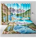 3D Naked Mountains and Small River Printed Living Room and Study Room Curtain
