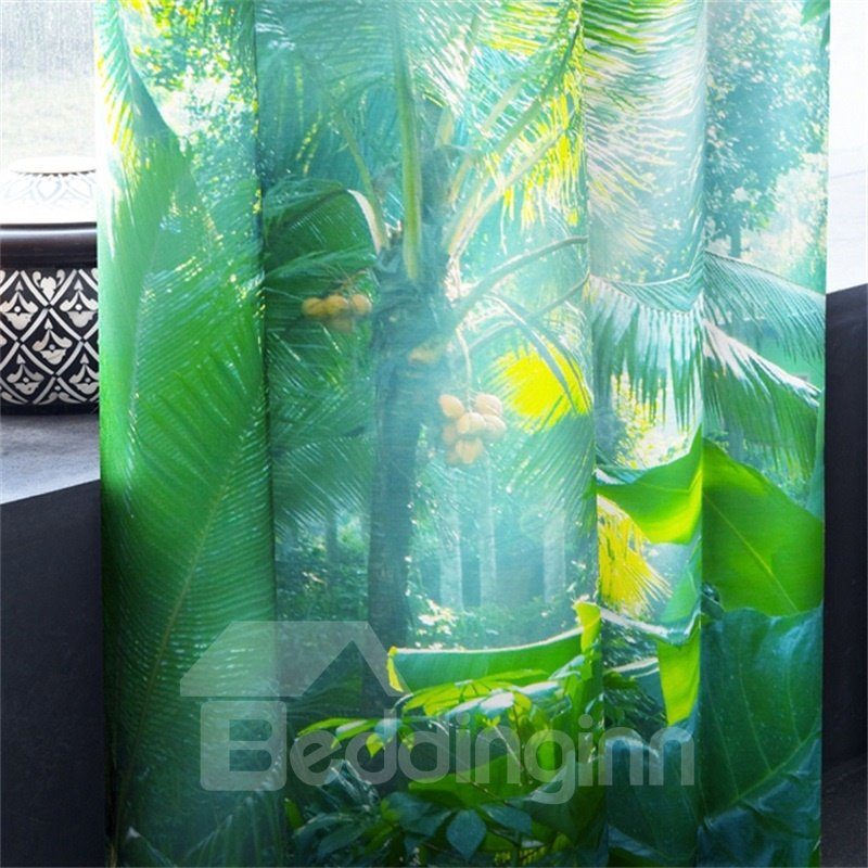 3D Bright Sunlight and Plantain Leaves Printed Morning Scenery 2 Panels Decorative Curtain