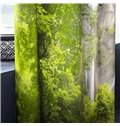 3D Green Trees and Torrential Waterfalls Printed 2 Panels Decorative and Blackout Curtain