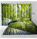 3D Fresh Green Plantain Leaves Printed Thick Polyester 2 Panels Decorative and Blackout Curtain