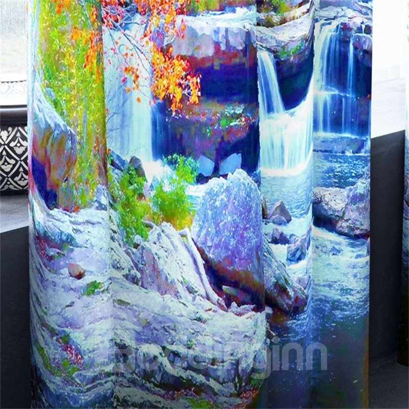 Small Bridge and Flowing Water with Yellow Trees Printed 2 Panels Grommet Top Curtain
