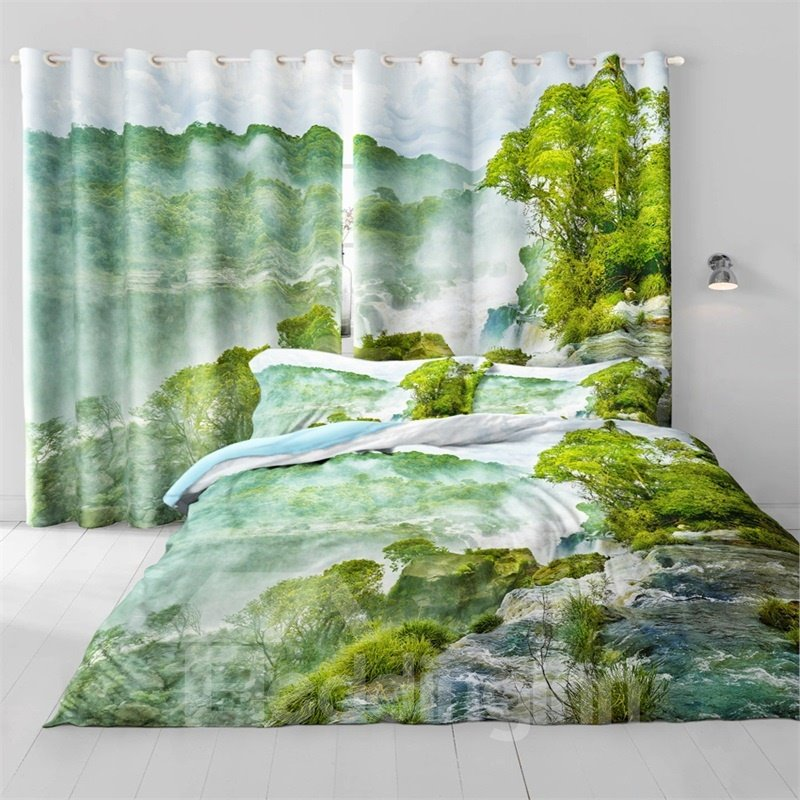 3D Green Mountains and Lush Forest Printed 2 Panels Decorative and Heat Insulation Window