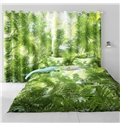 3D Thick Green Plantain Leaves Printed 2 Panels Living Room and Bedroom Curtain