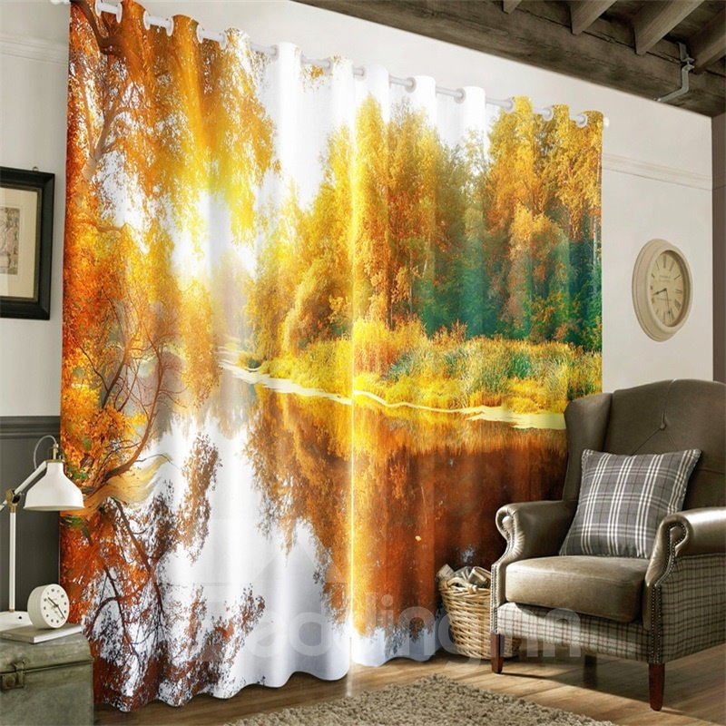 Beautiful Autumn Scenery Yellow Trees and Limpid River Printed 2 Panels Drapes