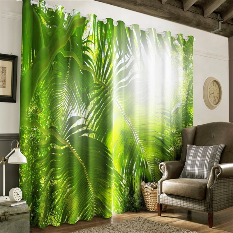 3D Green Plantain Leaves and Strong Sunlight Printed Subtropical Plants Window Drapes