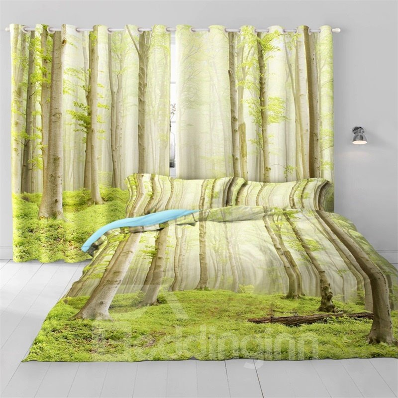 3D Tall Branches and Verdant Grass Printed 2 Pieces Decorative and Blackout Curtain