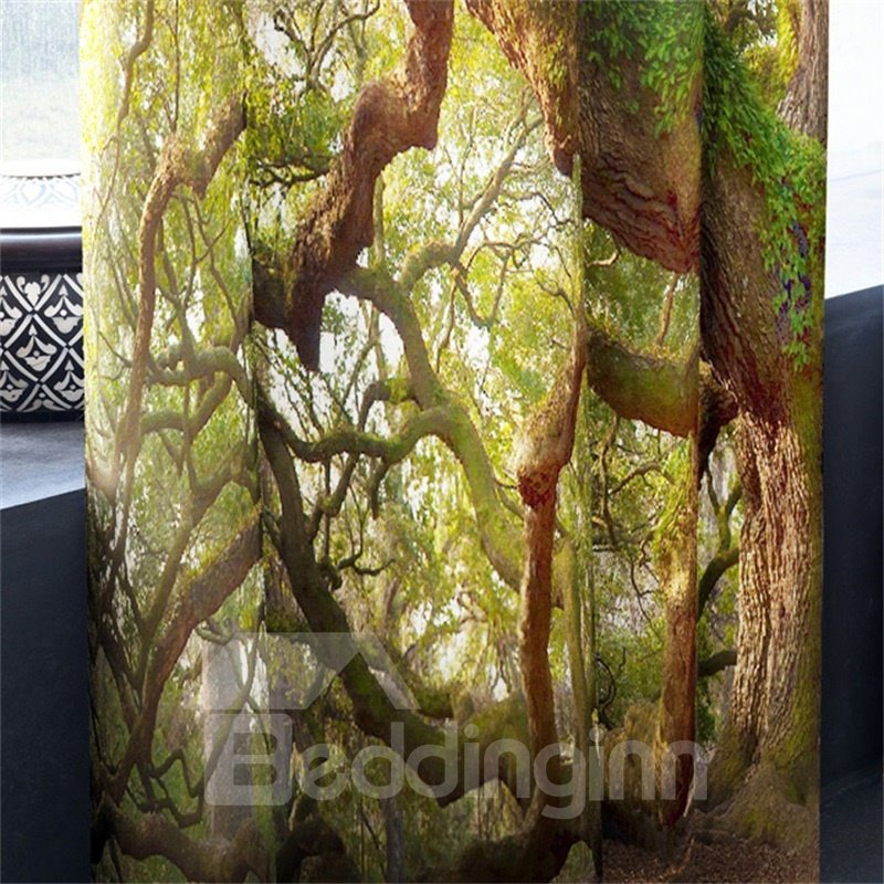 3D Old and Sturdy Tree Printed 2 Panels Decorative and Blackout Curtain