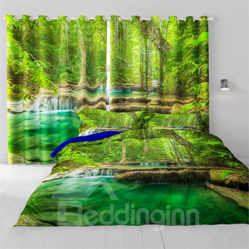 3D Lush Tree and Green Water Printed 2 Panels Decorative and Insulation Drapes