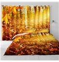 3D Golden Sunlight and Yellow Leaves Printed 2 Panels Bedroom Heat Insulation Drapes
