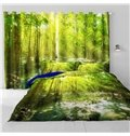 3D Soft and Bright Sunlight and Green Trees Printed 2 Panels Living Room Curtain