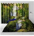 3D Torrential Waterfalls and Green Forest Printed 2 Panels Grommet Top Curtain