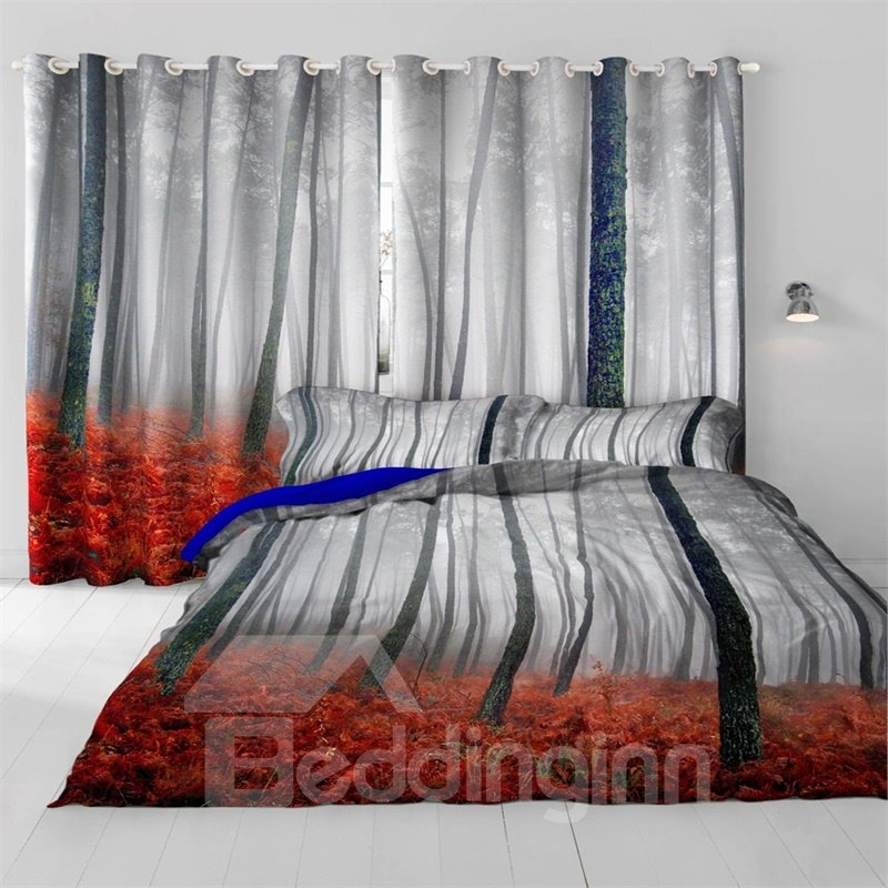 3D Misty Forest and Red Leaves Printed 2 Panels Decorative and Heat Insulation Bedroom Curtain