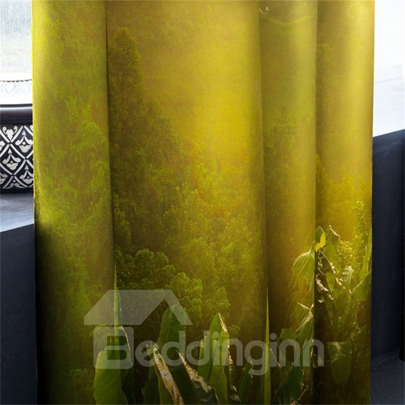 3D Soft Sunlight and Rolling Mountains Printed 2 Panels Decorative and Heat Insulation Curtain