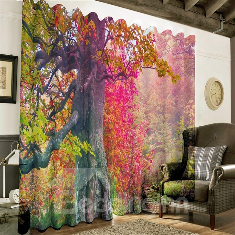 3D Red Leaves Printed Natural Autumn Beauty 2 Panels Decorative and Heat Insulation Drapes